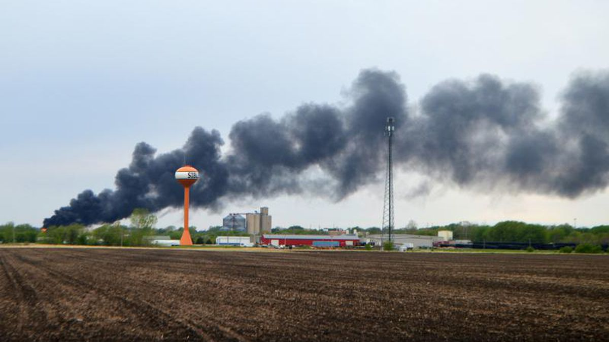 Smoke billows from a train derailment, Sunday, May 16, 2021, in Sibley, Iowa. Union Pacific...