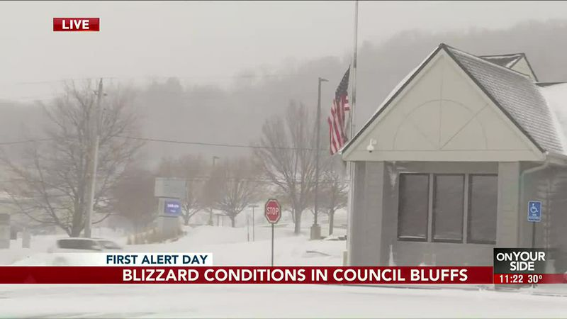 Blizzard conditions in Council Bluffs