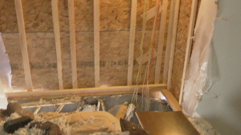 bedroom floor completely ripped apart after crash