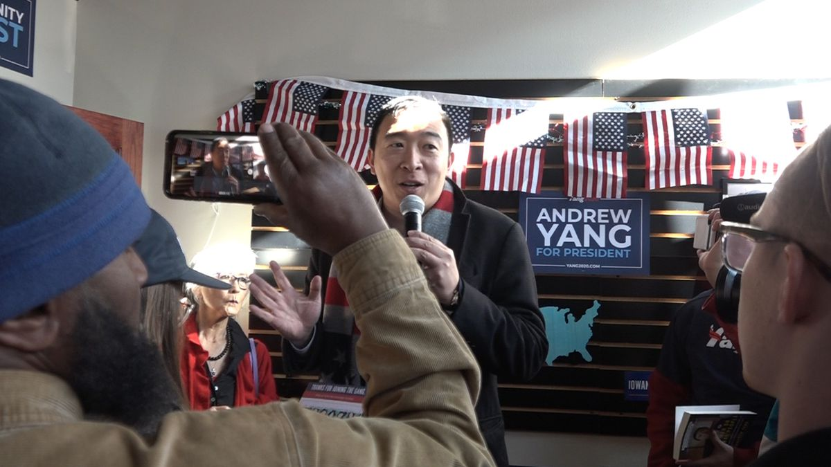 Andrew Yang brought his bid for the Democratic presidential nomination to Council Bluffs on Saturday.