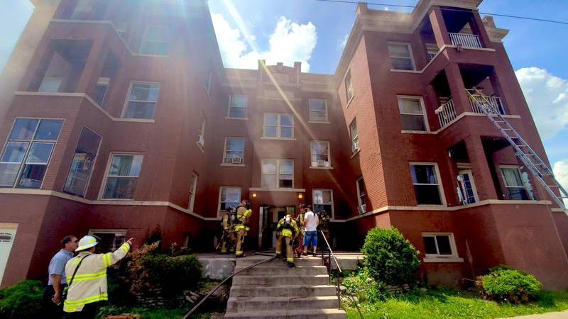 Omaha Fire crew tend to a fire at an apartment complex near South 25 Ave and Jones Street on...