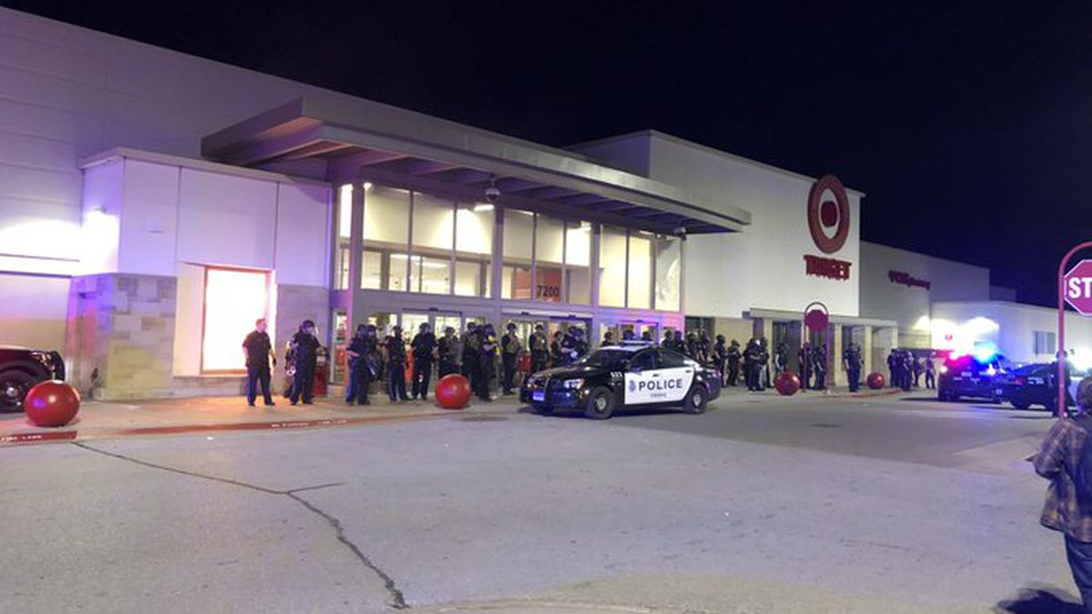 Some gathered for the George Floyd protest Friday night, May 29, 2020, at 72nd & Dodge streets in Omaha made their way to nearby stores after Omaha Police ordered them to disperse. Windows were broken out at the Target store at this location as the retail chain drew protesters around the country for its association with Minneapolis, where Floyd's death occurred. (WOWT)