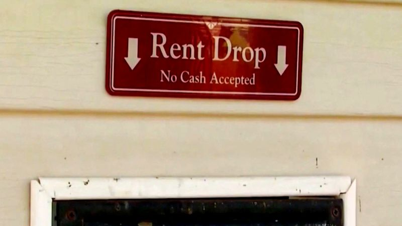 Rent drop box outside apartment leasing office.