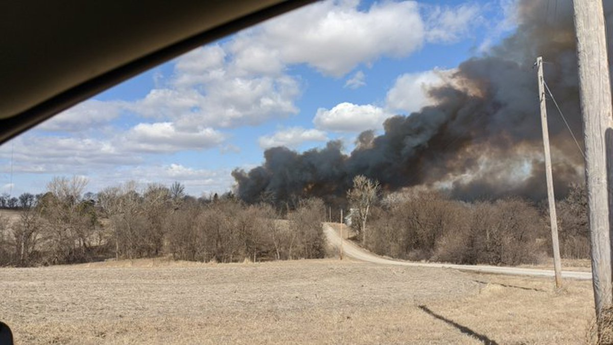 Fire ignited in a field north of Louisville on Thursday afternoon, March 5, 2020. (Courtesy...