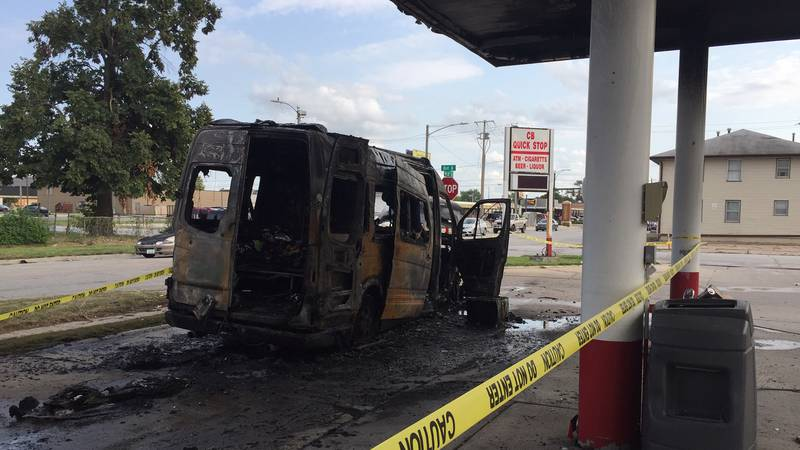 A van caught fire and exploded at a Council Bluffs gas station on Monday, Aug. 30, 2021.