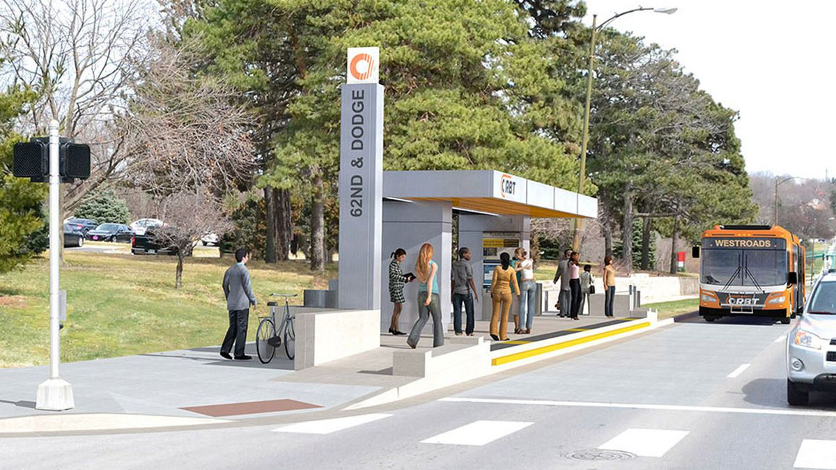 Artist rendering of an ORBT platform along westbound Dodge Street at the 62nd Street stop. (Photo courtesy of ORBT)
