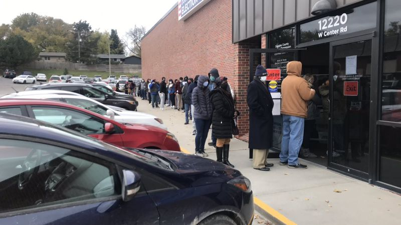 Douglas County residents lined up Friday morning, Oct. 23, 2020, the last day to register to...