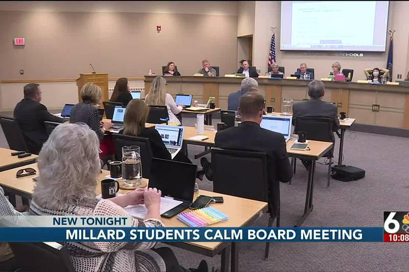 Millard students calm board meeting