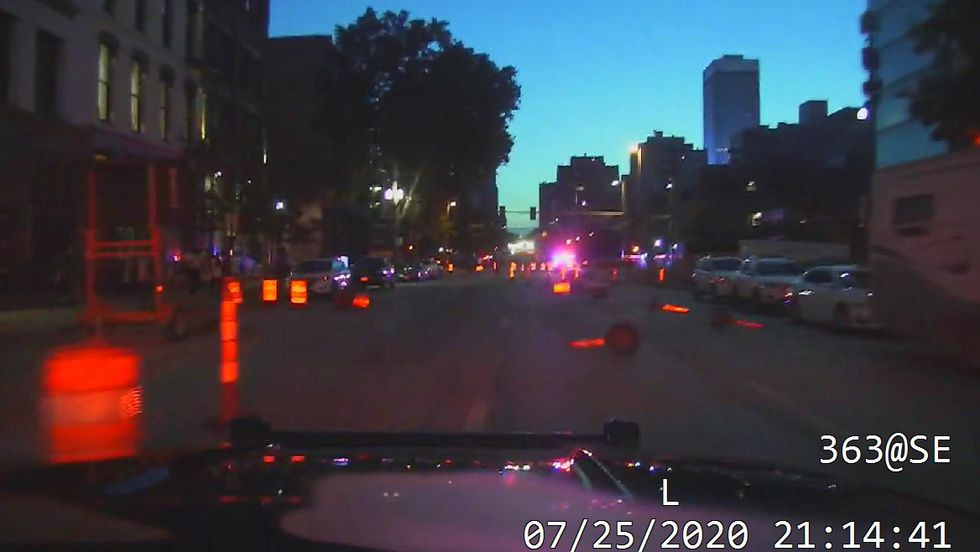 Omaha Police photo shows road cones knocked over in the street, obstructing traffic during a protest on Saturday, July 25, 2020.