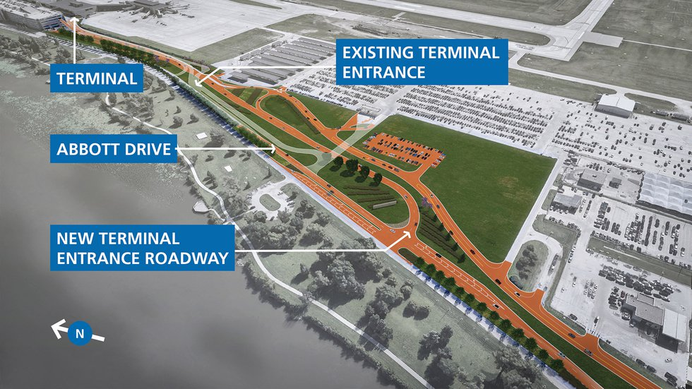 Expansion of the Terminal Roadway will include more traffic lanes, a new entrance with...
