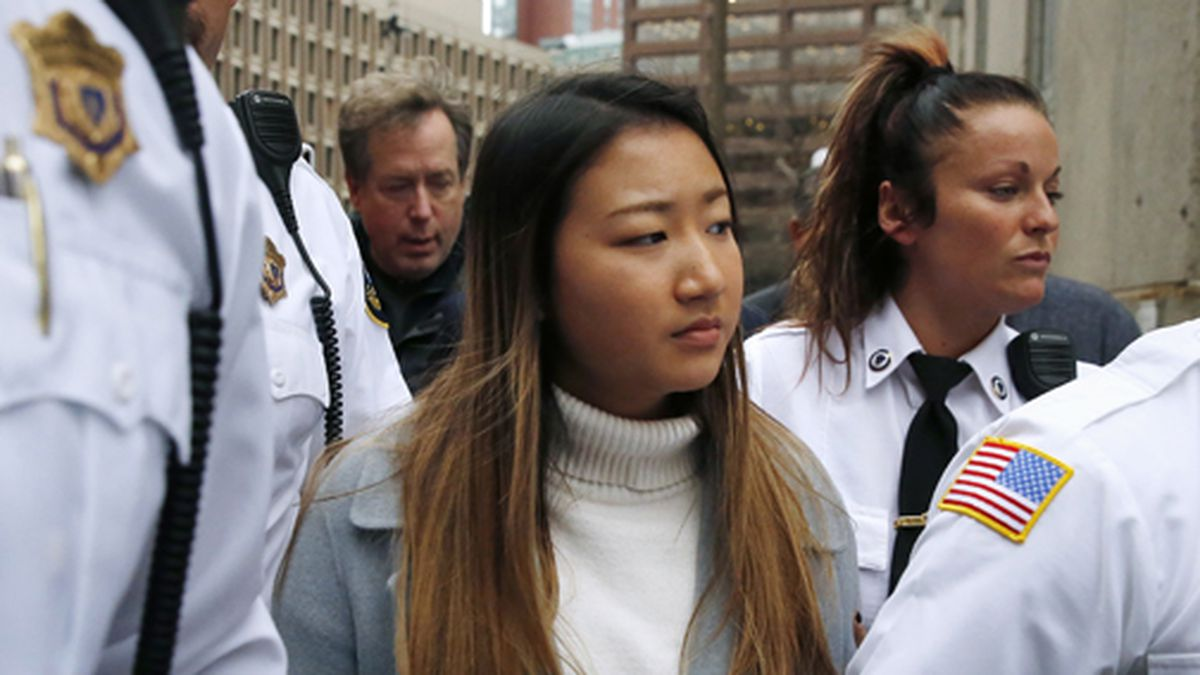 Inyoung You leaves Suffolk Superior Court in Boston, Friday, Nov. 22, 2019, after pleading not guilty to involuntary manslaughter. (AP Photo/Michael Dwyer)