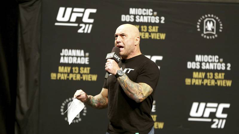 Joe Rogan is seen during a weigh-in before UFC 211 on Friday, May 12, 2017, in Dallas before...