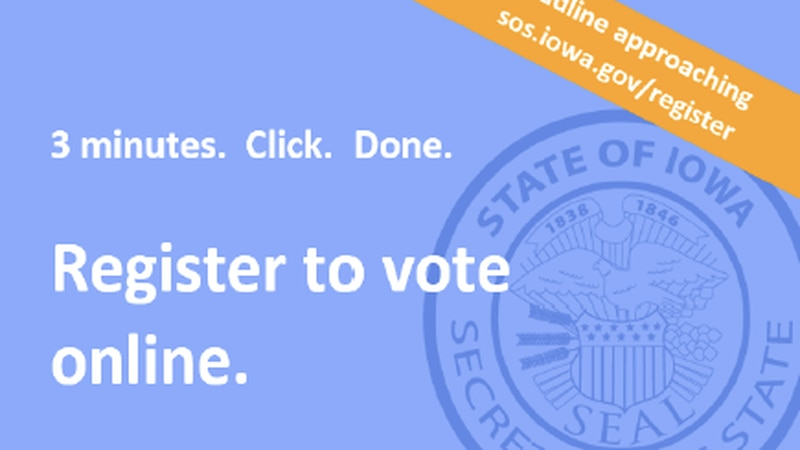 Iowa's Secretary of State is mailing 50,000 postcards during National Voter Registration Month...