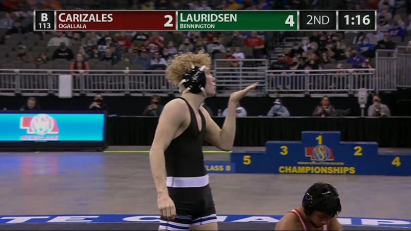 Bennington's Kael Lauridsen blows a kiss after winning his second state wrestling title as a...