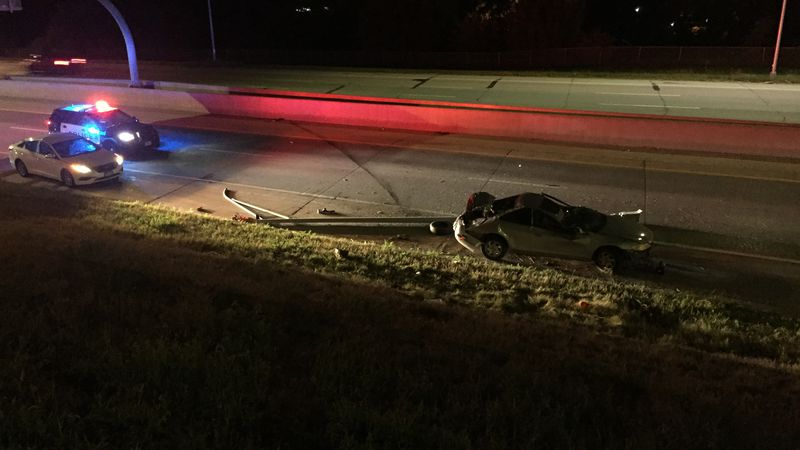 Omaha Police on the scene of a crash on the Kennedy Freeway.