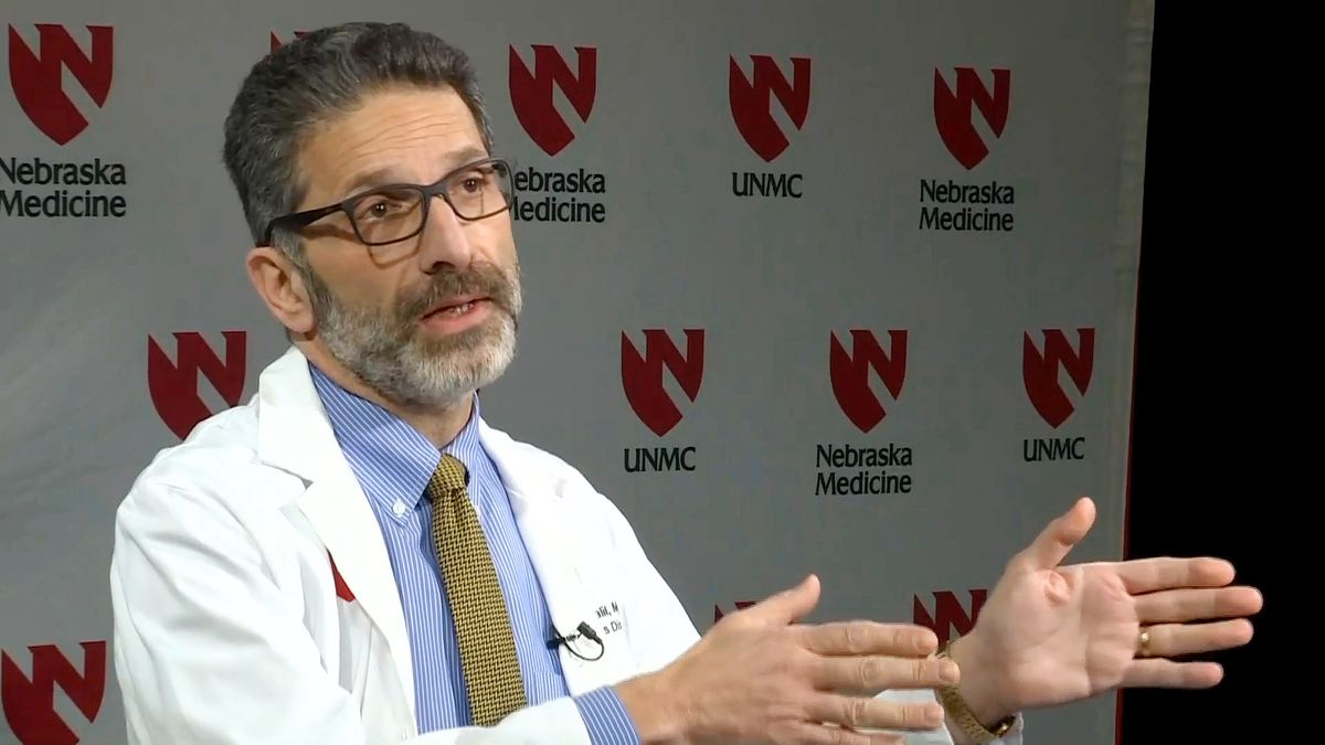 Dr. Andre Kalil, an infectious diseases specialist and professor of internal medicine who is in charge of the trial, provided more details during a news conference Tuesday, Feb. 25, 2020, at UNMC/Nebraska Medicine. (WOWT)