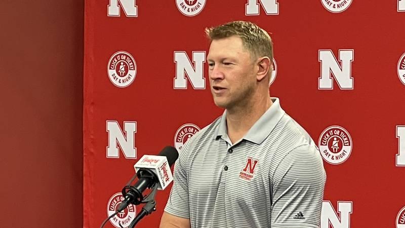 Nebraska head coach Scott Frost talks to reporters ahead of the start of fall camp at Memorial...