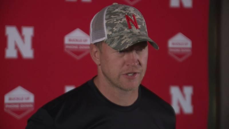 Nebraska head coach Scott Frost addresses the media inside Memorial Stadium after practice on...