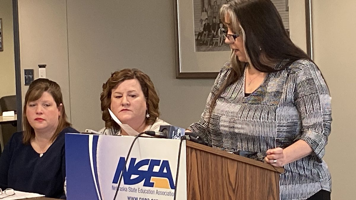 The Nebraska State Education Association on Thursday, Jan. 2, 2020, talked about the need for teachers in the state to have the right to physically discipline students they feel are acting out in a threatening way. (Tara Campbell / WOWT)