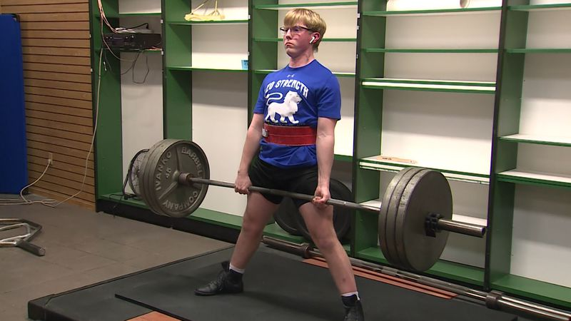 Tommy Connell trains for power lifting competitions at the Fremont Mall. Connell recently broke...