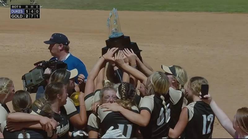 The Nebraska Gold 18U team celebrates winning a national championship in Irvine, California on...