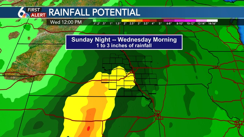 1 to 3 inches of rainfall possible Sunday night through Wednesday morning