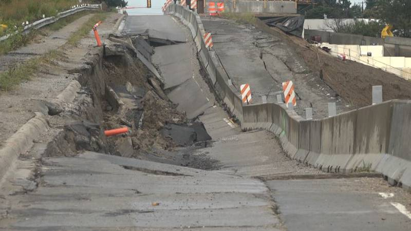 A bridge connecting Murray to HWY 75 partially collapsed due to heavy rains.