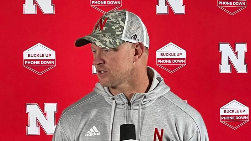 Nebraska head coach Scott Frost talks to the media at Memorial Stadium in Lincoln on Thursday,...