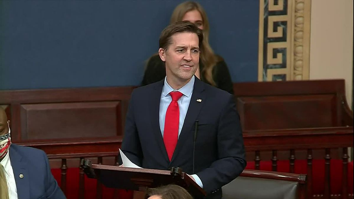 After the joint session of Congress reconvened Wednesday night, Jan. 6, 2021, Sen. Ben Sasse...