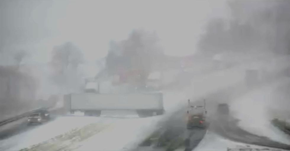 Jack-knifed semi blocking area of I-80 & Hwy 6 in Council Bluffs