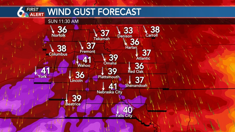 Gusty winds Sunday!