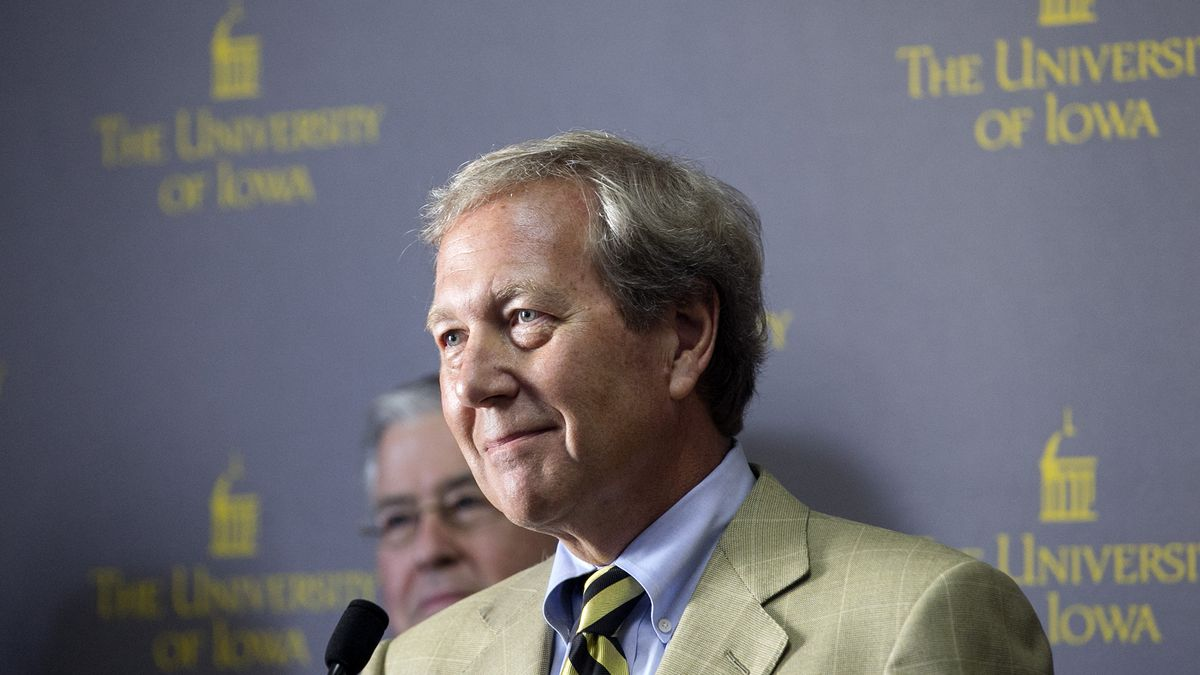Bruce Harreld listens to a question during a news conference after being announced as the 21st president of the University of Iowa at the Iowa Memorial Union in Iowa City, Iowa, on Thursday, Sept. 3, 2015. (Jim Slosiarek/The Gazette)