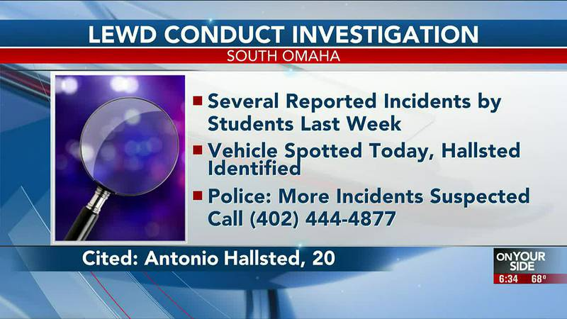 Antonio Hallsted, 20, has been arrested in Omaha Monday afternoon for a string of lewd conduct...