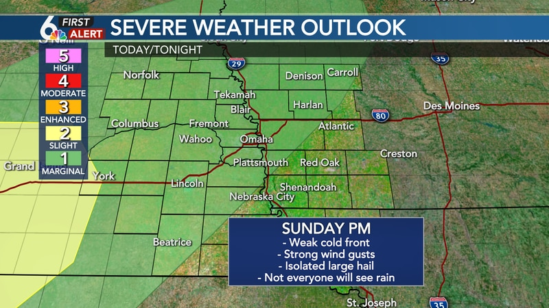 Few stronger storms Sunday PM