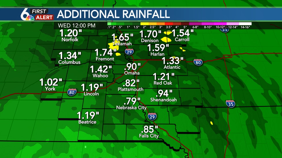 Rainfall tapers off Wednesday morning