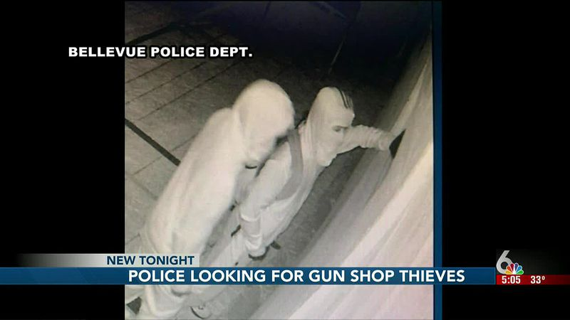 Authorities are seeking a pair of suspects who broke into two gun shops in Bellevue early Sunday.