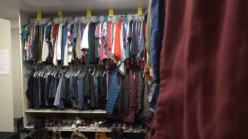 Clothing closet full of donations at Siena Francis House, Nov. 10, 2020