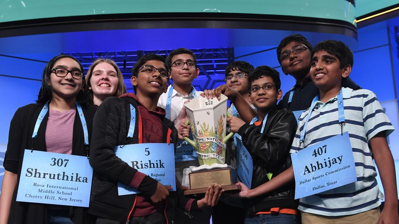 In this Friday, May 31, 2019 file photo,T he eight co-champions of the 2019 Scripps National...