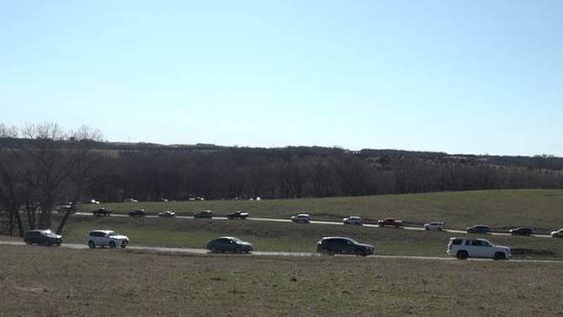 Simmons Wildlife Safari was very busy Sunday as cars lined up for miles to view animals. (WOWT)