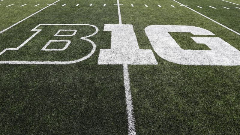 The Big Ten logo is seen on the field before an NCAA college football game between Iowa and...