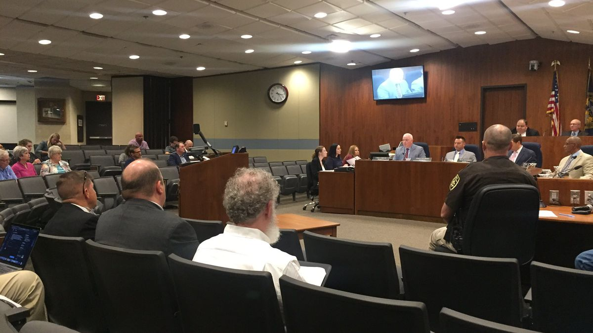 Omaha City Council members prepare to discuss the city's trash contract ahead of public comment during its meeting Tuesday, Aug. 27, 2019. (Brian Mastre / WOWT)