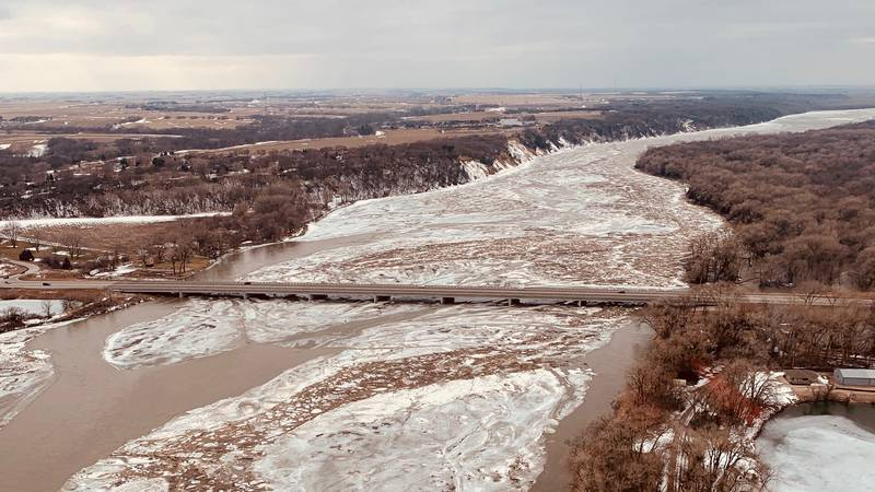 Ice jam under Highway 77 near Fremont, Neb., on Feb. 27, 2021.