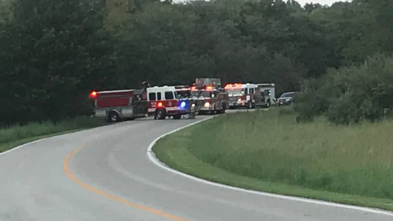 A pickup crashed into a tree near Wehrspann Lake Wednesday evening