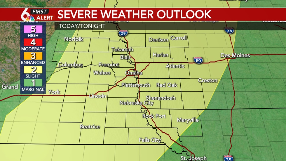 Strong storms possible Sunday evening