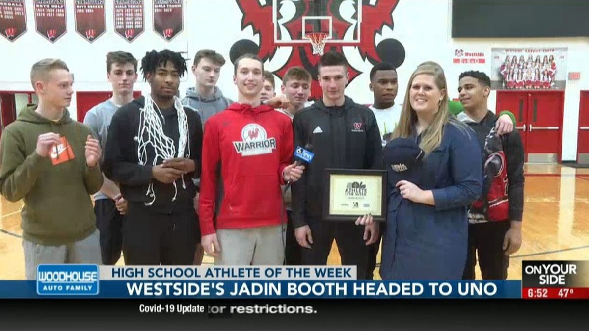 Westside's Jadin Booth is awarded the WOWT High School Athlete of the Week at Westside High School in Omaha.