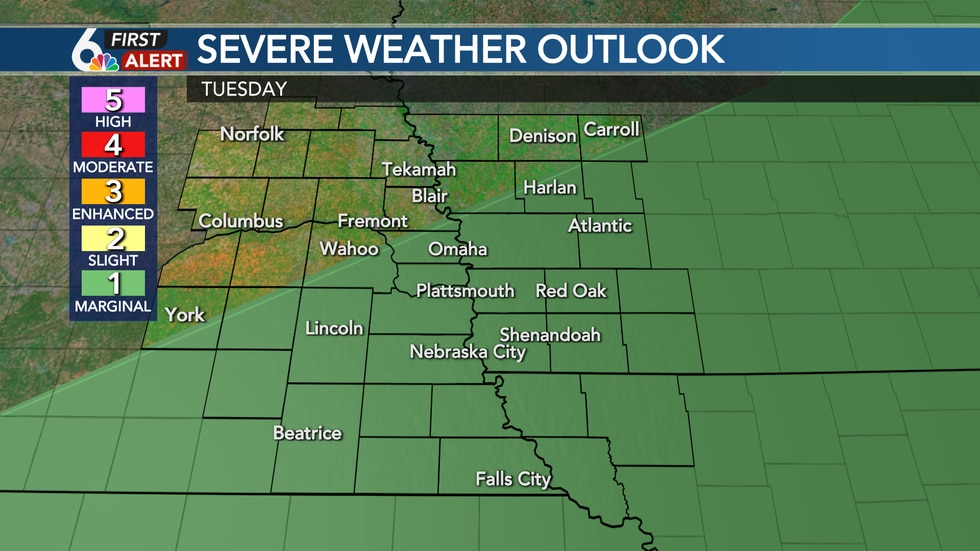 A few strong storms possible Tuesday PM