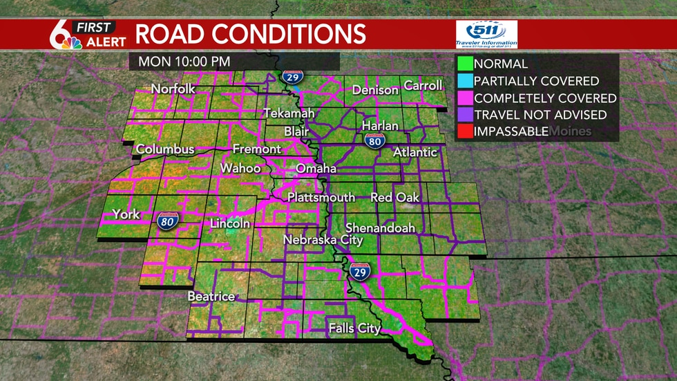 Road conditions as of 10 PM Monday