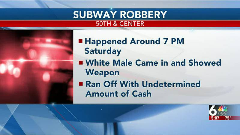 """Police are searching for a white male, approximately 5'10"""", that robbed a Subway in Omaha on..."""