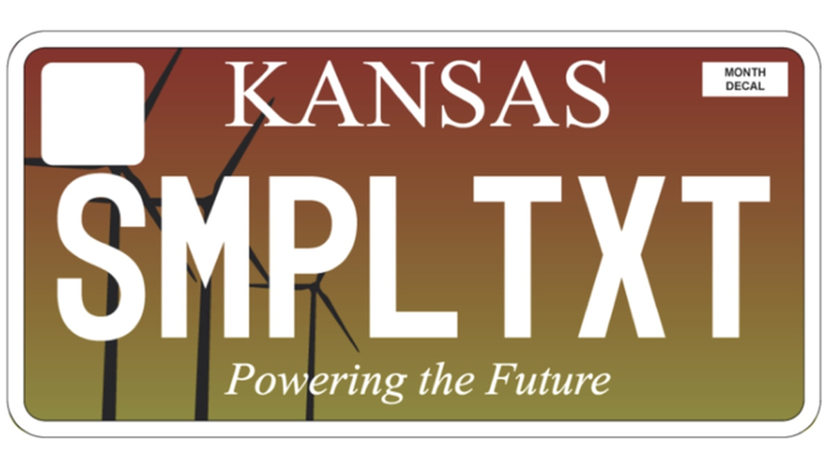 Kansas is rolling out new personalized license plates with a renewable energy theme. (Courtesy of Kansas.gov)
