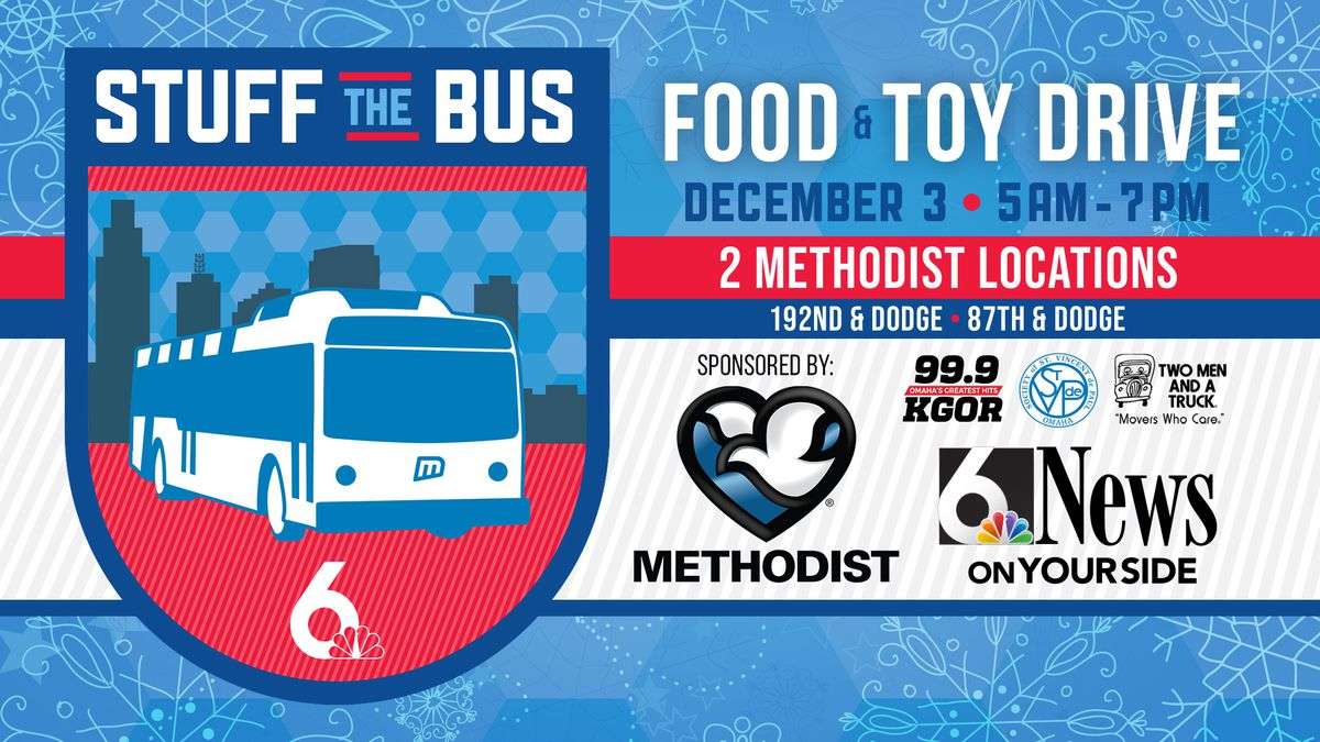 Help us Stuff the Bus on Dec. 3 sponsored by Methodist Health System.